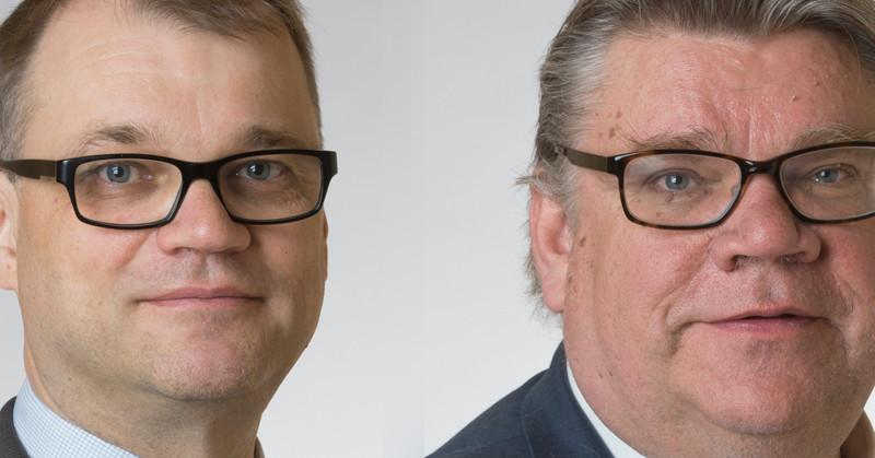 Pääministeri Juha Sipilä (kesk) ja ulkoministeri Timo Soini (ps). Kuvat: Eduskunta.