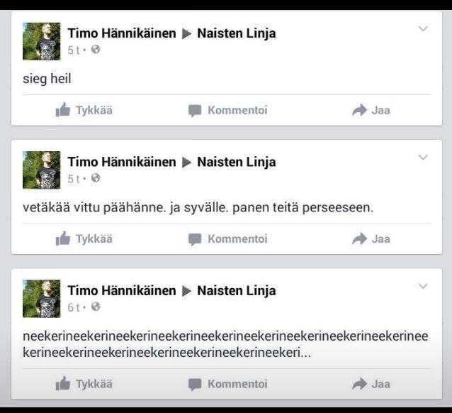 Timo Hännikäinen viestitteli Naisten Linjalle.