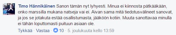 Timo Hännikäinen kommentoi natsien osallistumista 612-kulkueeseen.
