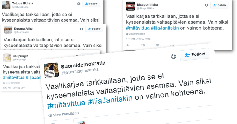 Trollitilit Twitterissä levittävät identtistä viestiä.