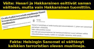 Helsingin Sanomat ei väittänyt, että kaikki terroristit olisivat muslimeja.