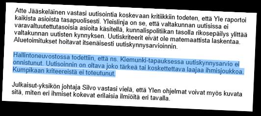 Hallintoneuvosto keskusteli Kiemungista.