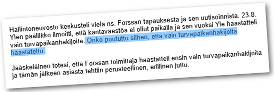 Hallintoneuvostossa keskusteltiin Forssan tapauksesta.