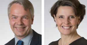 Pekka Haavisto (vihr) ja Anne Berner (kesk). Kuvat: Eduskunta.