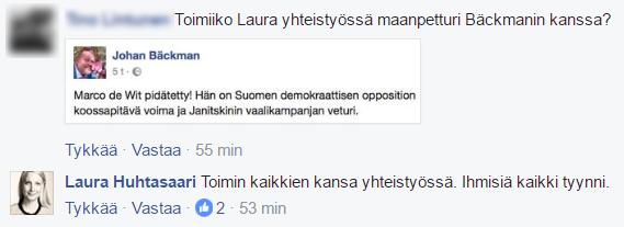 Perussuomalaisten kansanedustaja Laura Huhtasaari ei sulje pois mahdollisuutta yhteistyöhön dosentti Johan Bäckmanin kanssa.