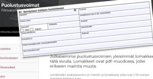 Puolustusvoimien julkisilta nettisivuilta löytyy lomake, jossa kysytään kansalaisuuksista.