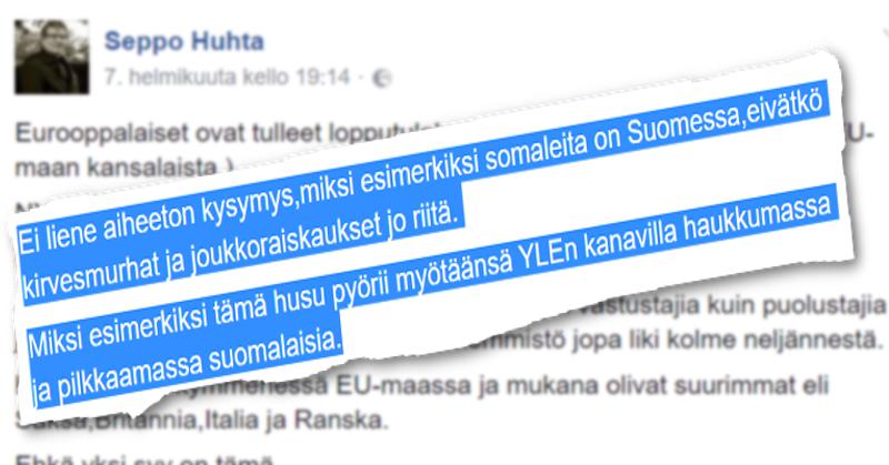 Seppo Huhta esittää Facebookissa poliittisia kannanottoja.