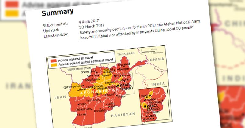 Kuvakaappaus Britannian matkusohjeista Afganistaniin.