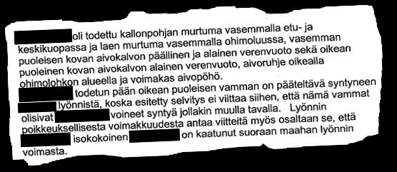 Ote Helsingin käräjäoikeuden tuomiosta vuodelta 2003 koskien Asema-aukiolla pahoinpidellyn miehen kuolemaa.
