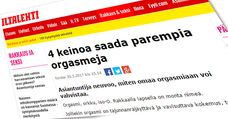 Iltalehti kertoi orgasmeista.