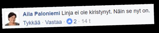 Keskustan kansanedustaja Aila Paloniemi väittää, että linja ei ole kiristynyt.