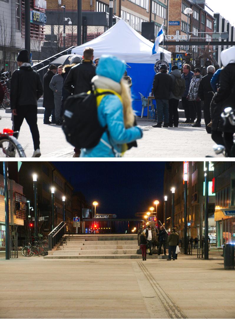 Suomi ensin -teltalla pidettiin kahden jälkeen päivällä palopuheita, vaikka teltta oli määrätty purettavaksi. Illalla poliisin vauhditettua purkutöitä oli teltan paikalla enää muutamia henkilöitä.
