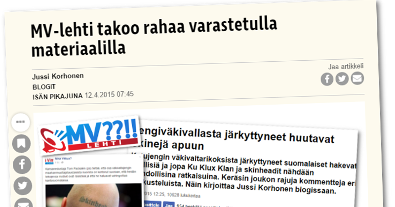 Isän pikajuna kertoi keväällä 2015, että MV-lehdessä on julkaistu materiaalia ilman tekijänoikeuden haltijan lupaa.