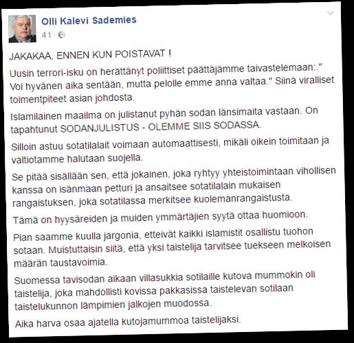 Eläkeläispoliisi Olli Sademies on aiemmin tuomittu nettikirjoitteluistaan.