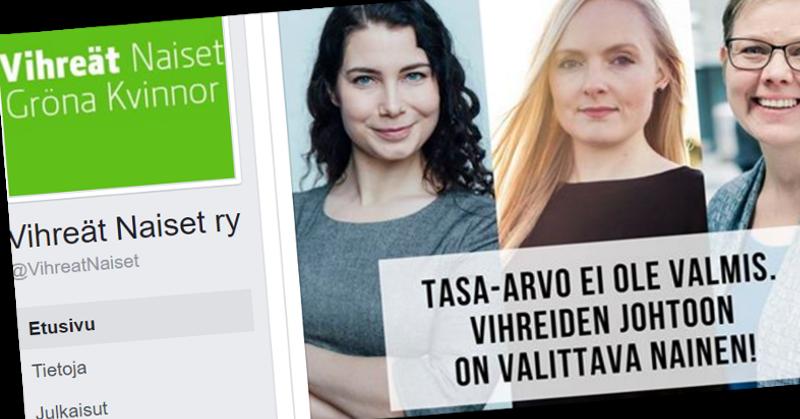 Vihreät Naiset kampanjoi sen puolesta, että puoluejohtaja valittaisiin sukupuolen perusteella.