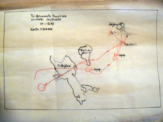 Taisteluosasto Puustisen sissiretki Jeljärvelle näyttää kartassa tältä. Kuva: Rukajärven suunnan historiayhdistyksen arkisto.