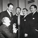 Olavi Virta lauloi Kippari-kvartetissa yhdessä Kauko Käyhkön, Teijo Joutselan ja Auvo Nuotion kanssa. Kuvassa mukana myös kapellimestari Harry Bergström.