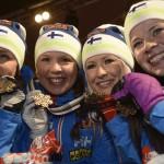 Aino-Kaisa Saarinen, Kerttu Niskanen, Riitta-Liisa Roponen ja Krista Pärmäkoski voittivat pronssia viiden kilometrin viestissä.