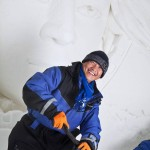 Guo Baiwei oli rakentamassa Lainion lumikylää myös viime vuonna.