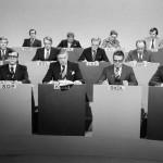 Puoluejohtajat mietteliäinä television suuressa vaalikeskustelussa 15. maaliskuuta 1979.