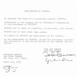 John Lennonin ja Yoko Onon allekirjoittama Nutopian perustamisjulistus. Sopimus on erään suomalaisen keräilijän kokoelmista.