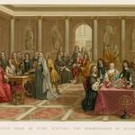 Filosofi Descartes oli aikansa kuuluisuus, joka muutti Kristiinan kutsusta Ruotsiin. Maalauksessa hän esittää ajatuksiaan kuningattarelle.