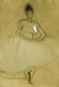 Schjerfbeckin Istuva nainen -teos vuodelta 1917, skannattuna.