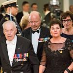 Viimeinen elossa oleva Mannerheim-ristin ritari Tuomas Gerdt saapui juhliin ensimmäisenä.