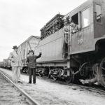 Jälleen yksi sotakorvausjuna lähtövalmiina Vainikkalan asemalla. ©LEHTIKUVA