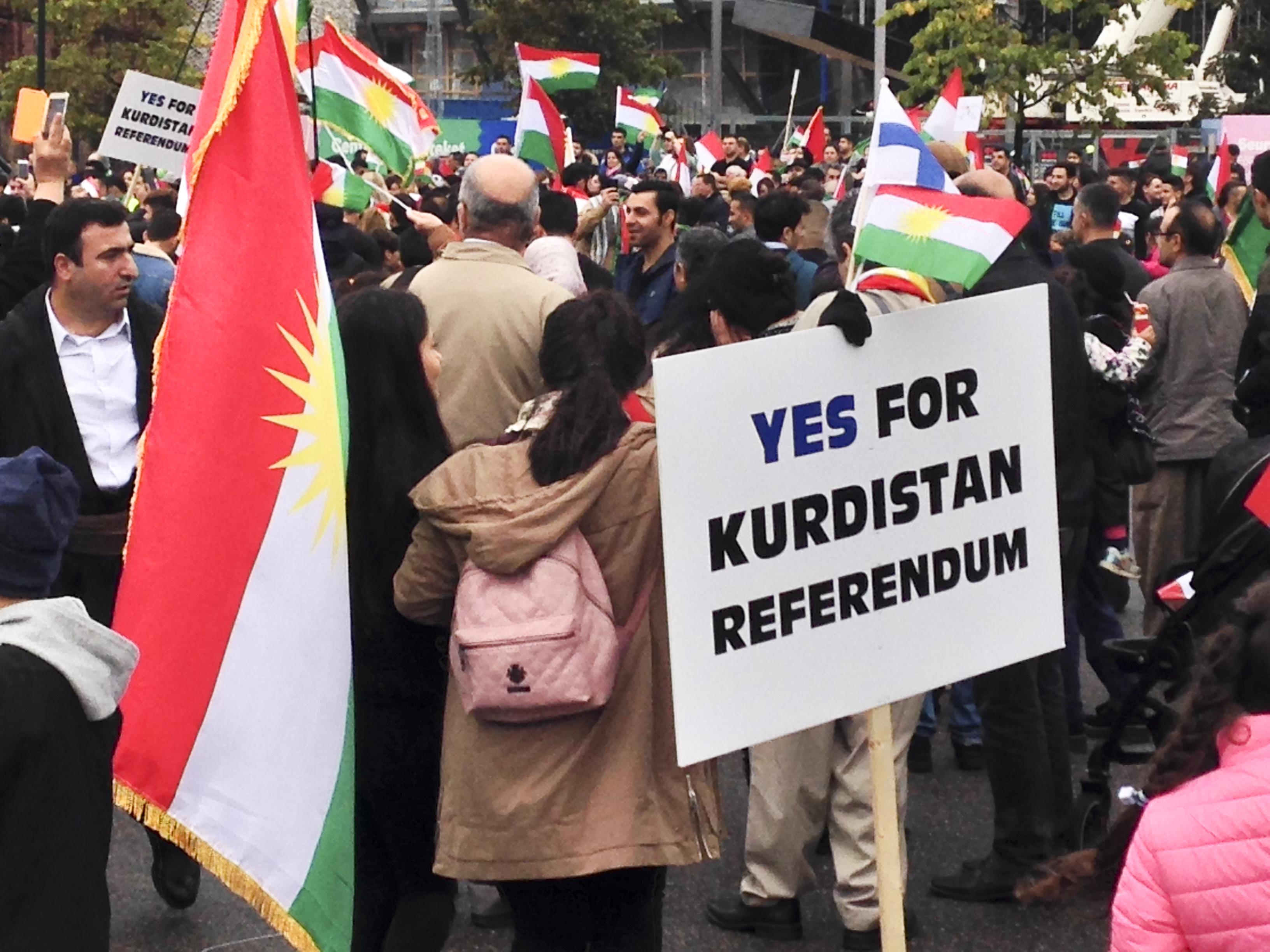 Kansanäänestystä Irakin Kurdistanin itsenäistymiseksi juhlittiin myös Helsingissä 22.9.2017.