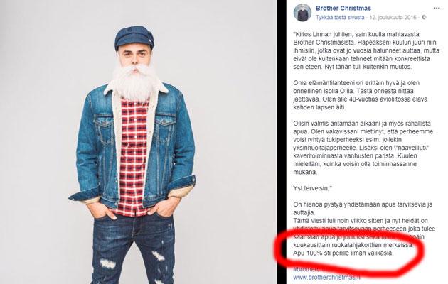 Brother Christmasin Facebook-julkaisu 12. joulukuuta 2016.