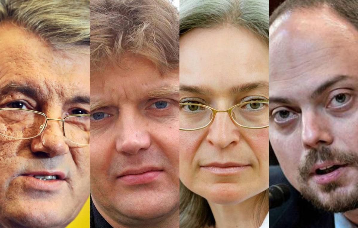Viktor Juštšenko (vas.), Aleksandr Litvinenko, Anna Politkovskaja ja Vladimir Kara-Murza ovat myrkytyksen uhreja.