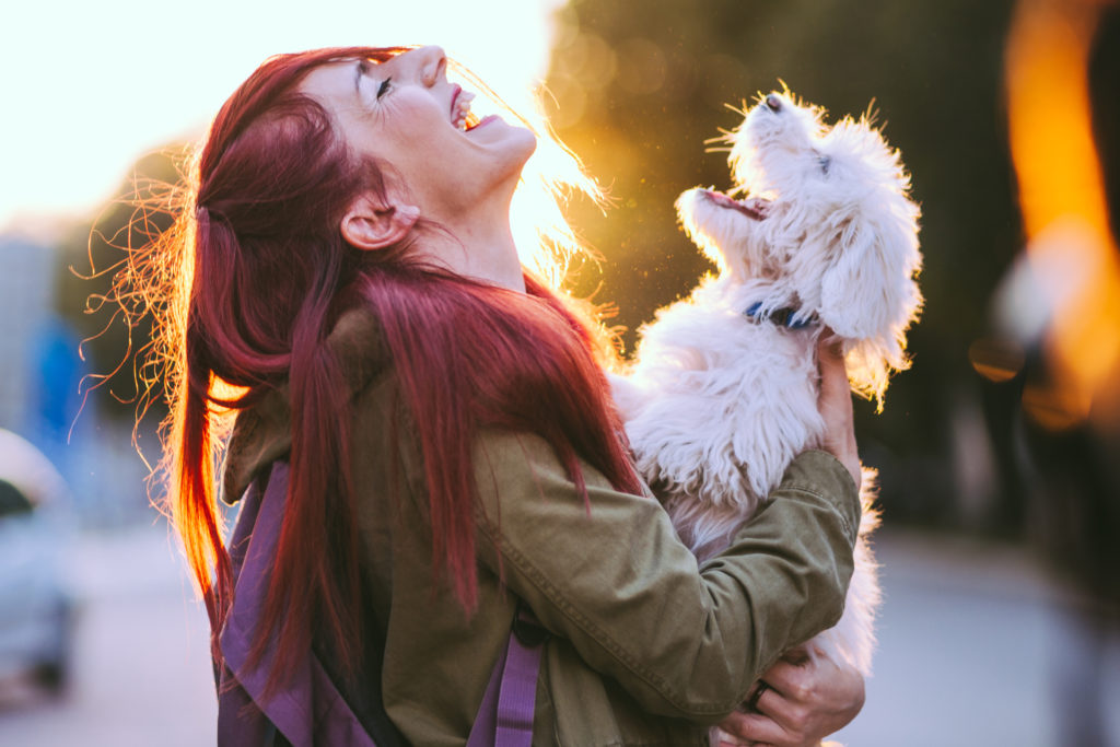 Kuvituskuva: Koira ja sen omistaja nauravat.
