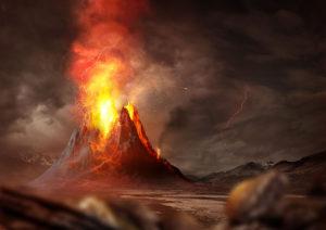 Taiteilijan näkemys valtavasta tulivuorenpurkauksesta.