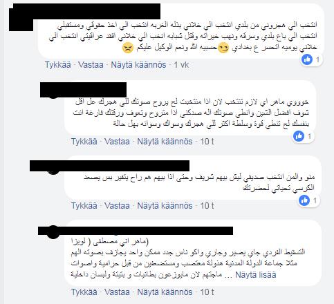 Ruutukaappaus Irakin vaalien Facebook-sivulta