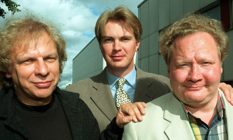 Tommy Tabermann, Peter Nyman ja Jari Tervo TV1:n syysinfossa vuonna 1998.