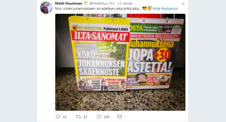 Matti Huutosen twiitti 11. kesäkuuta.