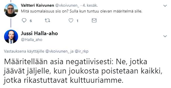 Jussi Halla-ahon twiitti suomalaisuudesta.