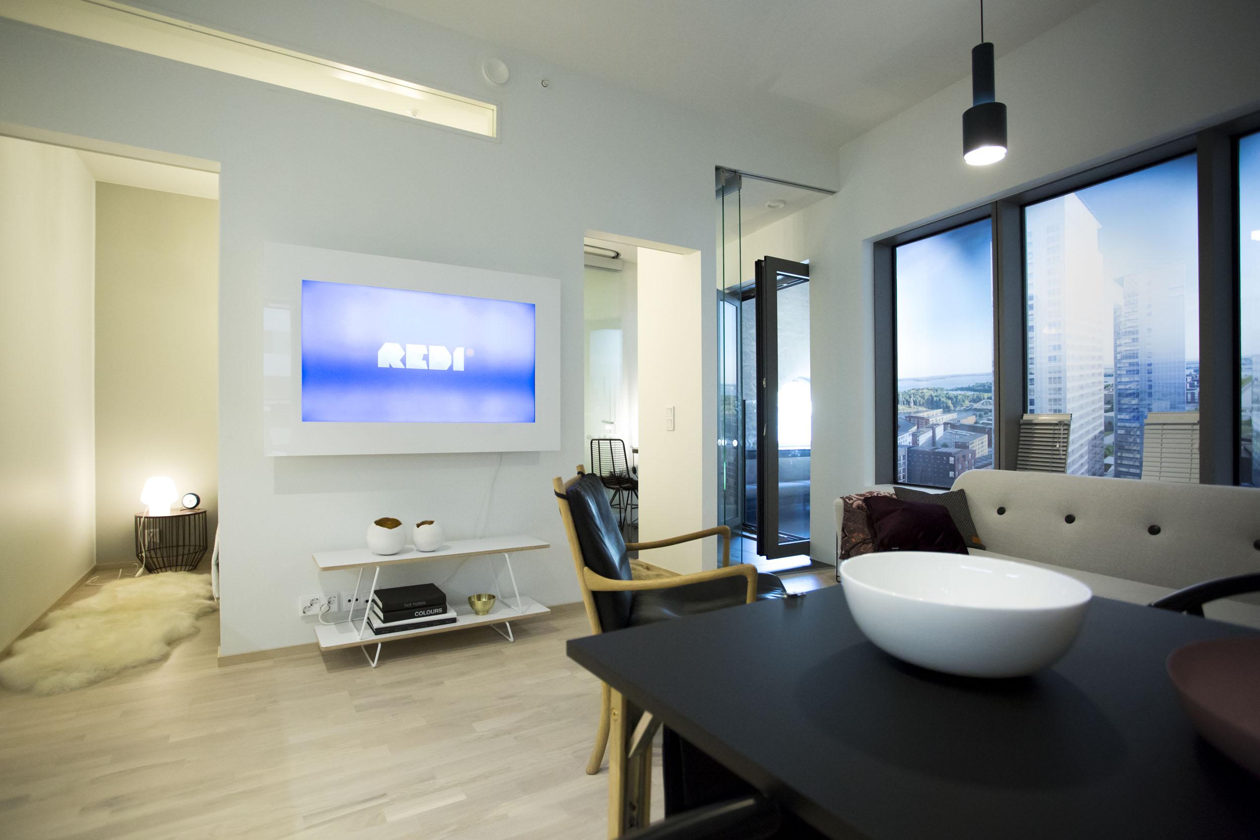 Kiinnostuneita ostajia varten Majakasta asunnoista on rakennettu mallihuone.