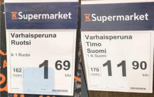 Alkukesällä kotimaisen ja ruotsalaisen varhaisperunan hintaero on suuri