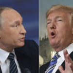 US President Donald Trump (R) and his Russian counterpart Vladimir Putin will hold a summit in the Finnish capital, Helsinki, on 16 July.