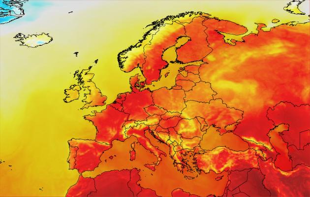 Euroopan kartta ja lämpötilaerot.