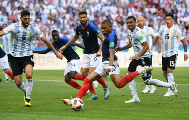 KAZAN, June 30, 2018 (Xinhua) -- Kylian Mbappe of France celebrates scoring during the 2018 FIFA World Cup round of 16 match between France and Argentina in Kazan, Russia, June 30, 2018. (Xinhua/Li Ga)