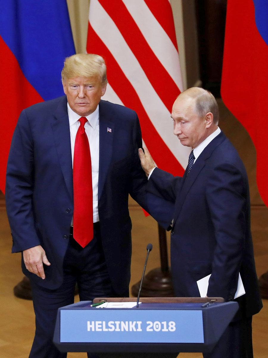 Donald Trump ja Vladimir Putin neuvottelivat Helsingissä 16. heinäkuuta 2018.