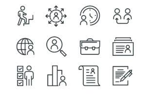 Kuvituskuva: työhön ja työnhakuun liittyviä kuvituksia.