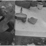 SA-kuvan kuvatekstin mukaan tässä on yksi normiateria vuonna 1941: leipää, teetä ja suolakurkkua.