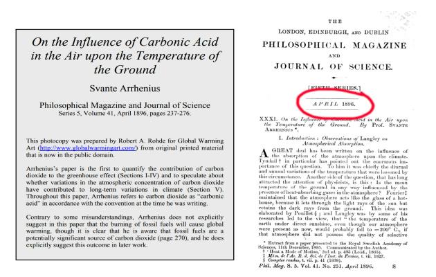 Svante Arrheniuksen tiedejulkaisu ilmaston lämpenemisestä.