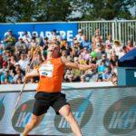 Oliver Helander voitti keinäänheiton Suomen-mestaruuden Kalevan kisoissa Jyväskylässä 22. heinäkuuta 2018. Heitto kantoi 81,26 metriä.