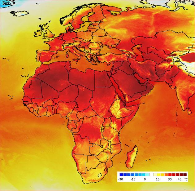 Eurooppa ja Afrikka hehkuvat tummanpunaisina.