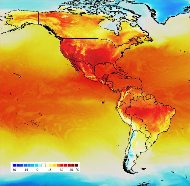 Pohjois- ja Etelä-Amerikan kartassa näkyy lämpöeroja.